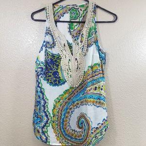 Trina Turk Paisley Crochet Silk Tank Size M
